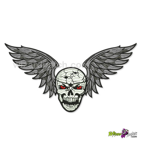 wizard patch WINGED SKULLS CUSTOM EMBROIDERED biker back patch