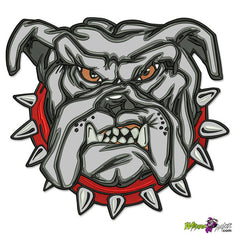 NEW LARGE ANGRY BULLDOG OVER 112000 STITCHES FLOOD THIS DESIGN, HUGE BIKER BACK PATCH SEW OR IRON ON