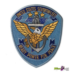 wizard top gun embroidered badge ready power for peace naval g1 jacket patch movie war time united states seventh 7th fleet