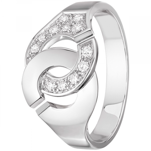 Bague Menottes R10 or blanc et diamants