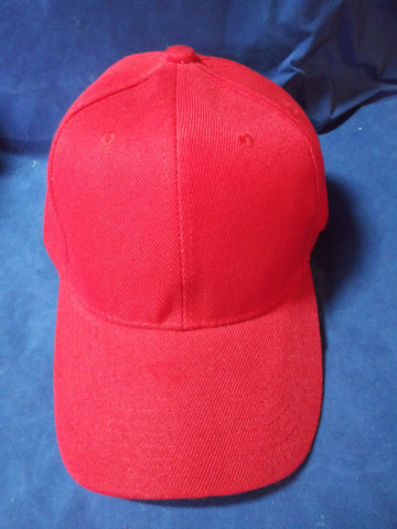 6 Panel Blank Baseball Cap with Velcro Closure - Red