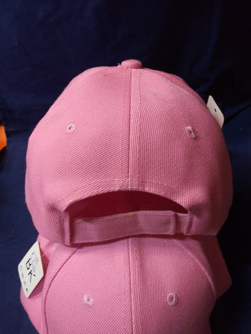 6 Panel Blank Baseball Cap with Velcro Closure - Pink