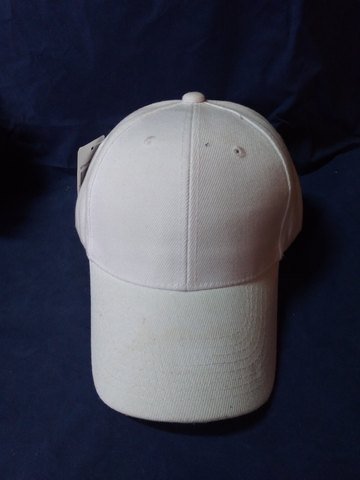 6 Panel Blank Baseball Cap with Velcro Closure - White