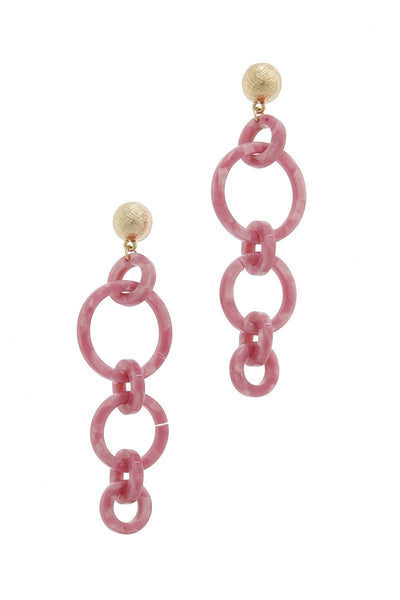 Multi Resin Round Chain Fashion Earring
