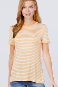 Short Sleeve Crew Neck Stripe Rayon Spandex Ringer Knit Top