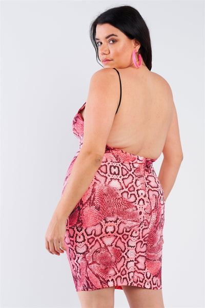 Plus Size Snake Print Open Back Mini Dress