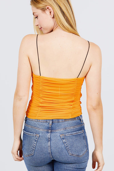 V-neck W/shirring Detail Elastic Strap Mesh Cami Top
