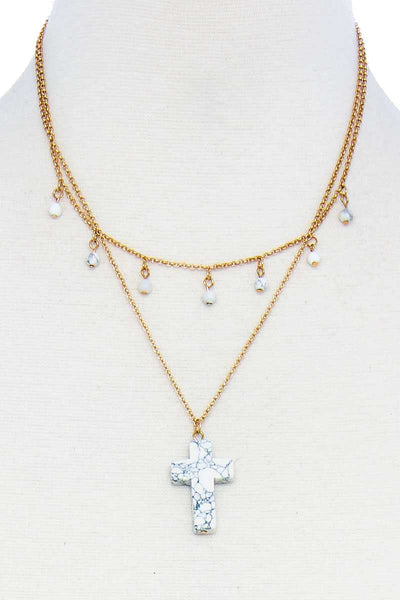 Double Layered Cross Pendant Chain Necklace