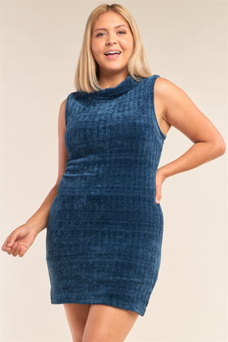 Plus Size Sleeveless Ribbed Knit Semi-turtleneck Mini Dress