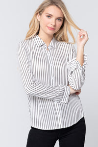 3/4 Roll Up Slv Stripe Print Shirt