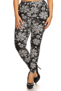 Plus Size Abstract Print, Full Length Leggings In A Slim Fitting Style With A Banded High Waist