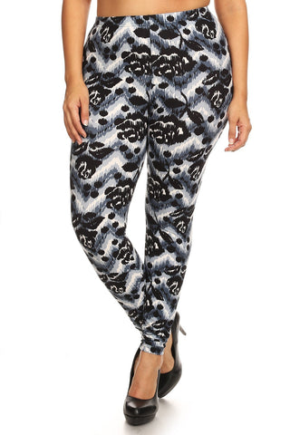 Abstract Print, Full Length Leggings In A Slim Fitting Style With A Banded High Waist