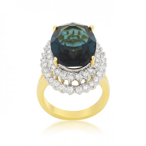 Two-tone Double Halo Cocktail Ring (size: 06)