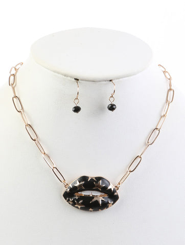 STAR LIP LINK CHAIN NECKLACE AND EARRING SET