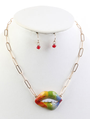 BITE LIP EPOXY NECKLACE AND EARRING SET