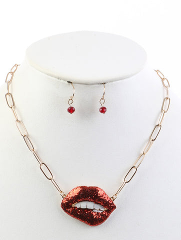 BITE LIP GLITTER NECKLACE AND EARRING SET