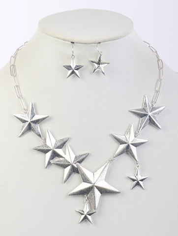 STAR BIB METAL CASTING NECKLACE AND EARRING SET