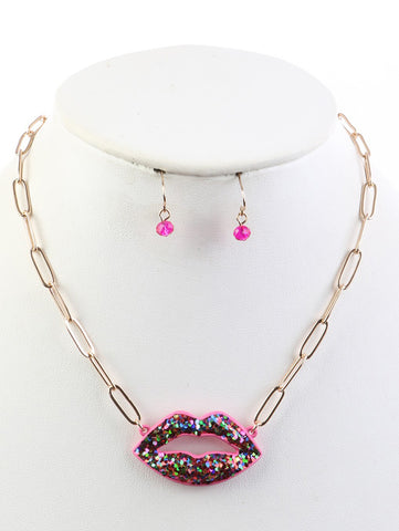 GLITTER LIP LINK CHAIN NECKLACE AND EARRING SET