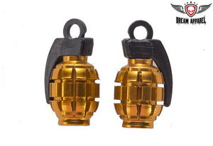 Two Gold Grenades Tire Valve Stem Caps