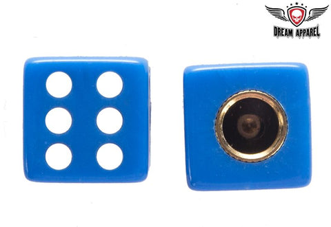 Two Blue Dice Tire Valve Stem Caps