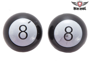 Two Black 8 Ball Tire Valve Stem Caps