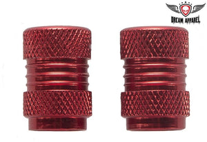 Two Metallic Red Tire Valve Stem Caps