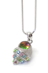White Gold Plating Multi Color Crystal Concho Shell Pendant Necklace