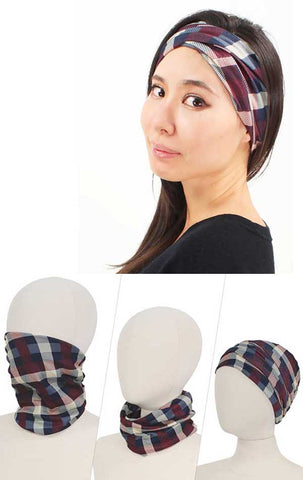 Double layer plaid multi use face cover - 100% polyester