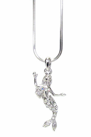 White Gold Plating Crystal Mermaid Pendant Necklace