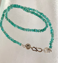 Load image into Gallery viewer, Fluorite stone necklace strung with silver spiral clasp