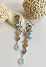 Load image into Gallery viewer, Seahorse dangle long earrings