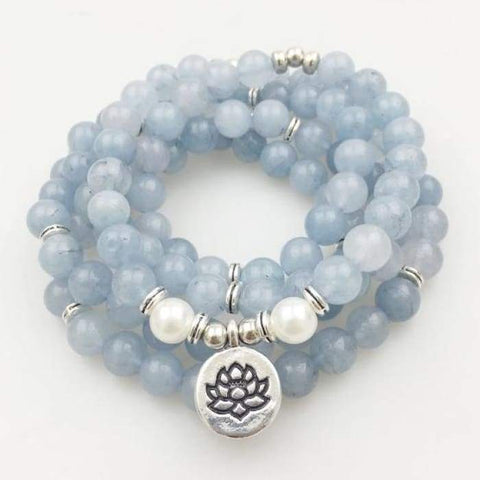 "Mala Bracciale ""Truth & Creativity"" in Aquamarine"