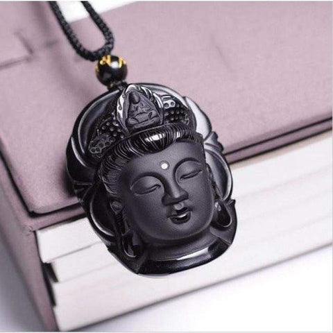 "Collana ""Buddha Head"" Obsidian Black"