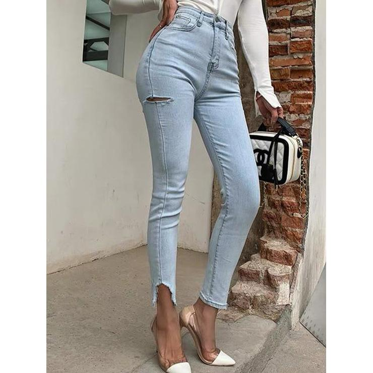 High Waisted Jeans With Ripped Legs