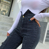 High Waist Skinny Jeans in Dunkelgrau