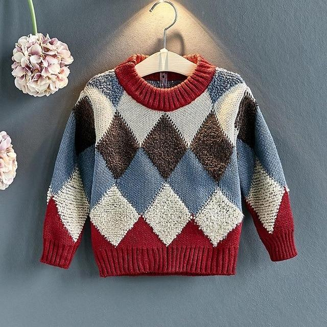 Plaid Pattern Pullover for 6-10 Years