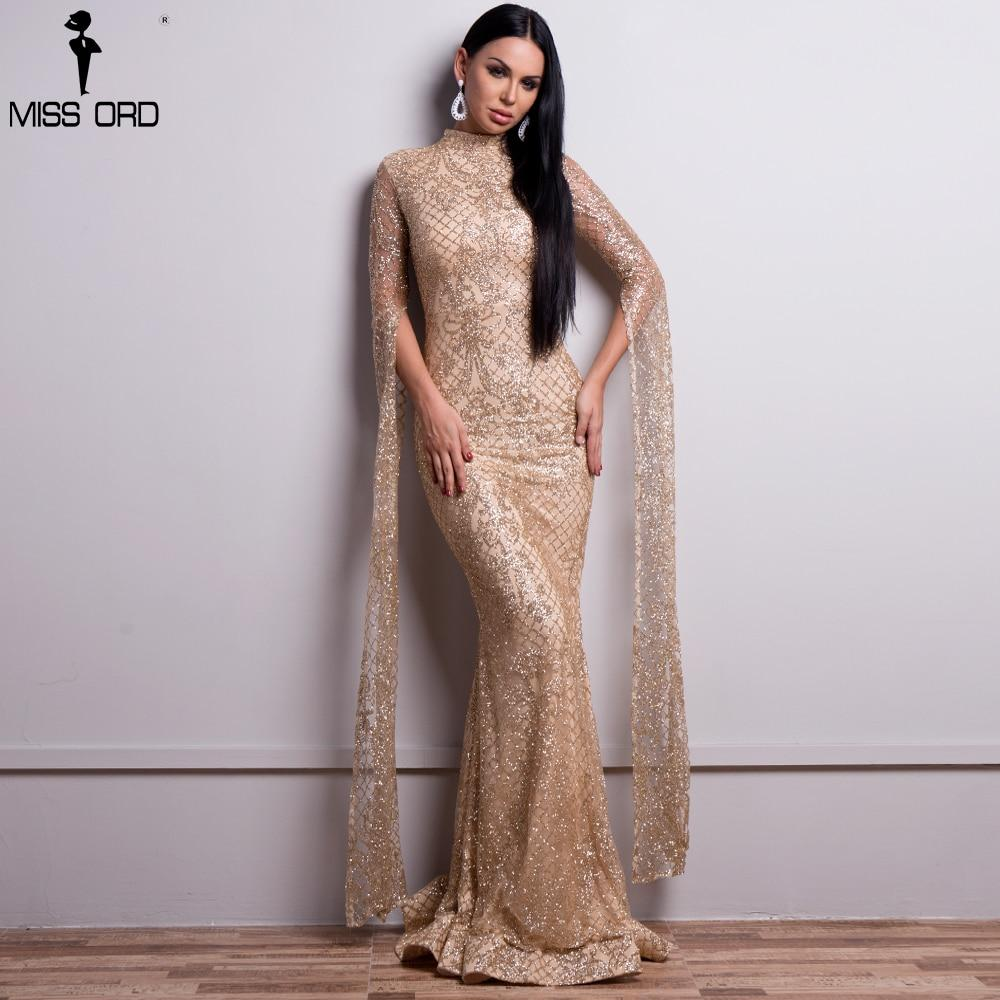 High Neck Dress with Long Sleeves in Glitter