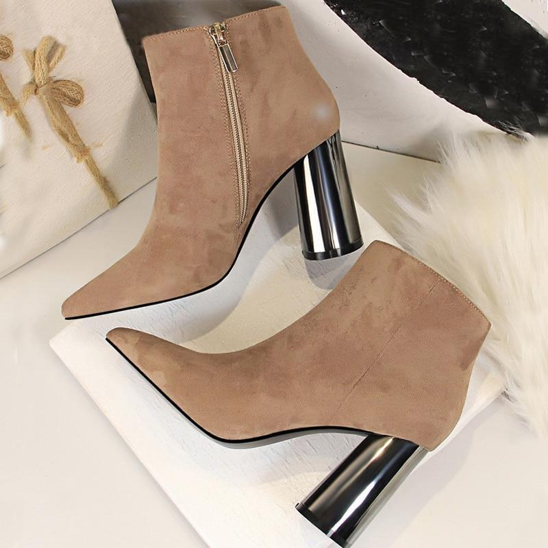 Flock Leather Ankle Boots
