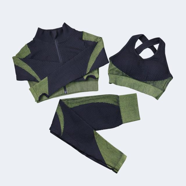 Gym Outfits Shirt+Top Bras and Seamless Leggings