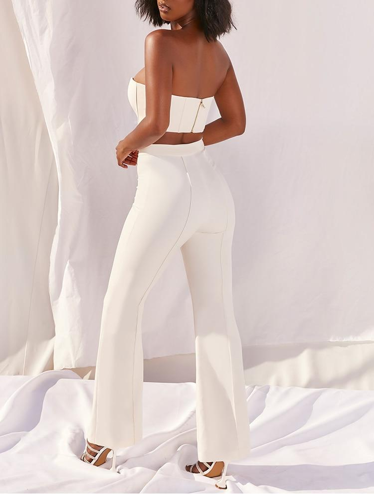 Two Piece Set with Crop Top and Long Pant
