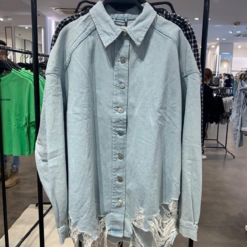 Ripped Denim Shirt with Long Sleeve