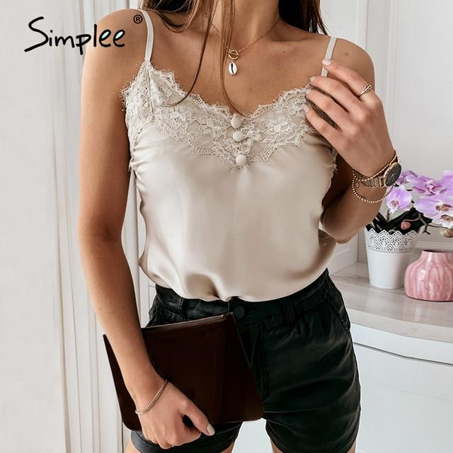 V-Neck Top with Lace