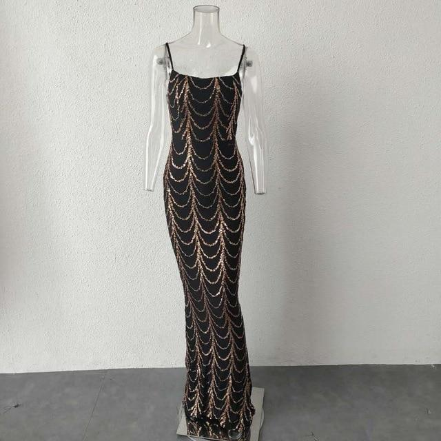 High Neck Maxi Dress with Sequins