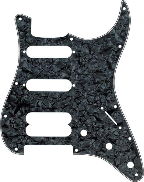 Fender Pickguard, Stratocaster H/S/S, 11-Hole Mount (No Holes Drilled For HB Pickup Mount), Black Pearl, 4-Ply - Guitar Station Melbourne, Australia