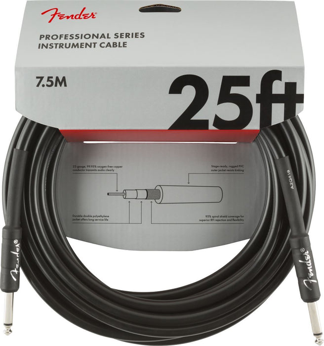 Fender Professional Series Instrument Cable, Straight/Straight, 25', Black - Guitar Station Melbourne, Australia