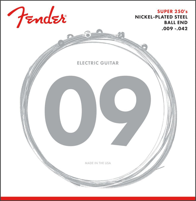Fender Super 250 Guitar Strings, Nickel Plated Steel, Ball End, 250L Gauges .009-.042, (6) - Guitar Station Melbourne, Australia