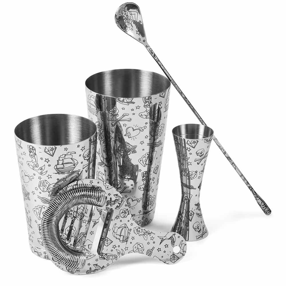 Tattoo Stainless Steel 5 Piece Cocktail Set Tin-on-Tin Shaker, Jigger, Spoon and Strainer