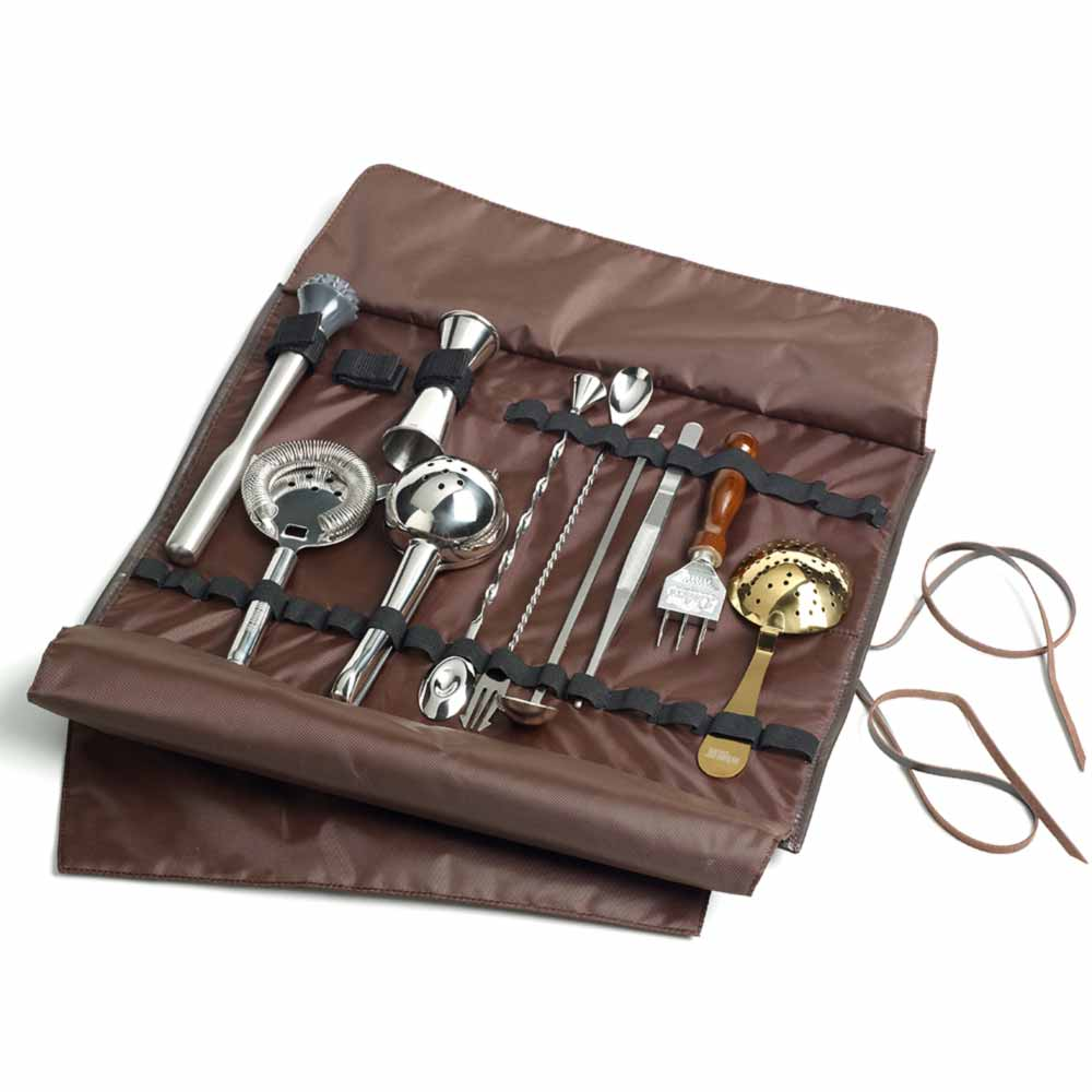 Leather Bartenders Roll Kit Bag for Cocktail Tools