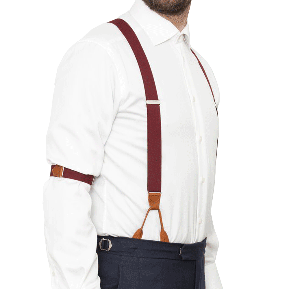 Sharp & Dapper Elastic Braces Burgundy
