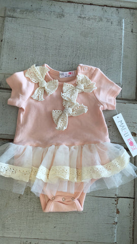 Mae Li Rose crochet bow onesie